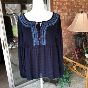 Sonoma Navy Blue Embroidered Boho Top XL